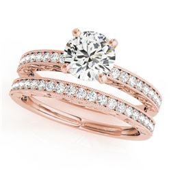 0.9 CTW Certified VS/SI Diamond Solitaire 2Pc Wedding Set Antique 14K Rose Gold - REF-130F8N - 31431