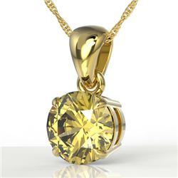 2 CTW Citrine Designer Inspired Solitaire Necklace 18K Yellow Gold - REF-26K2W - 22019
