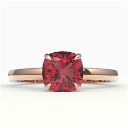 2 CTW Cushion Cut Pink Tourmaline Solitaire Engagement Ring 14K Rose Gold - REF-34W2F - 22155