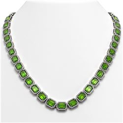 57.3 CTW Peridot & Diamond Halo Necklace 10K White Gold - REF-819A6X - 41357