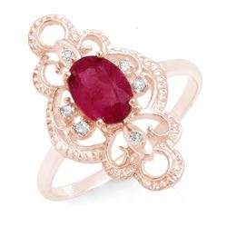 1.35 CTW Ruby & Diamond Ring 10K Rose Gold - REF-18M9H - 12487