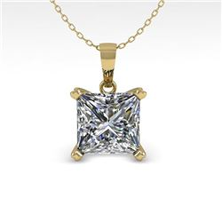 0.50 CTW VS/SI Princess Diamond Designer Necklace 14K Yellow Gold - REF-85H8A - 38411