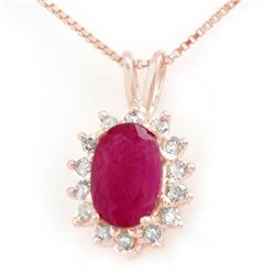 1.90 CTW Ruby & Diamond Pendant 14K Rose Gold - REF-32N8Y - 13974