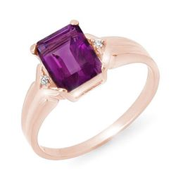 1.47 CTW Amethyst & Diamond Ring 18K Rose Gold - REF-25M5H - 12707