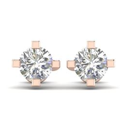 1 CTW Certified VS/SI Diamond Solitaire Stud Earrings 14K Rose Gold - REF-145N3Y - 30400