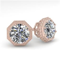1.50 CTW VS/SI Diamond Stud Solitaire Earrings 18K Rose Gold - REF-311T3M - 35966