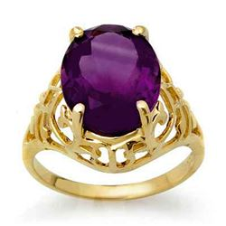 4.50 CTW Amethyst Ring 10K Yellow Gold - REF-22F8N - 13600