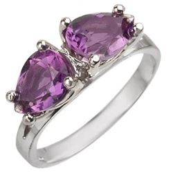 2.0 CTW Amethyst Ring 10K White Gold - REF-18T9M - 10774