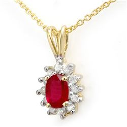 0.51 CTW Ruby & Diamond Pendant 10K Yellow Gold - REF-13T3M - 12622