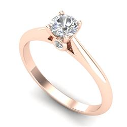 0.4 CTW VS/SI Diamond Solitaire Art Deco Ring 18K Rose Gold - REF-58F2N - 37278