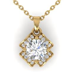 0.95 CTW Certified VS/SI Diamond Art Deco Stud Necklace 14K Yellow Gold - REF-114N5Y - 30281