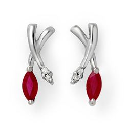 0.75 CTW Ruby & Diamond Earrings 14K White Gold - REF-21F6N - 13181