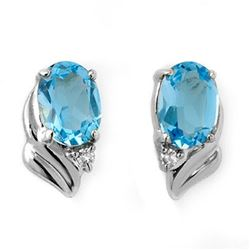 1.23 CTW Blue Topaz & Diamond Earrings 18K White Gold - REF-19K5W - 12581
