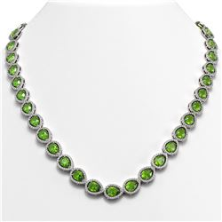 33.35 CTW Peridot & Diamond Halo Necklace 10K White Gold - REF-664T2M - 41069