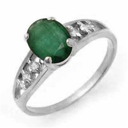 1.50 CTW Emerald & Diamond Ring 18K White Gold - REF-33H5A - 14284