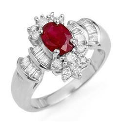 1.78 CTW Ruby & Diamond Ring 18K White Gold - REF-91X3T - 12836