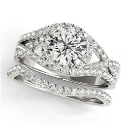 2.15 CTW Certified VS/SI Diamond 2Pc Set Solitaire Halo 14K White Gold - REF-581M5H - 31012