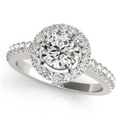 0.76 CTW Certified VS/SI Diamond Solitaire Halo Ring 18K White Gold - REF-128K8W - 26326