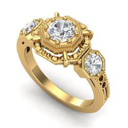 1.01 CTW VS/SI Diamond Solitaire Art Deco 3 Stone Ring 18K Yellow Gold - REF-200F2N - 36883