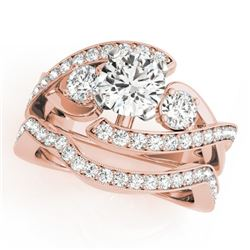 2.54 CTW Certified VS/SI Diamond Bypass Solitaire 2Pc Wedding Set 14K Rose Gold - REF-609H6A - 31782