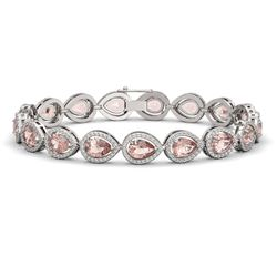 16.59 CTW Morganite & Diamond Halo Bracelet 10K White Gold - REF-388T2M - 41102