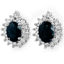 3.87 CTW Blue Sapphire & Diamond Earrings 14K White Gold - REF-65X6T - 14298