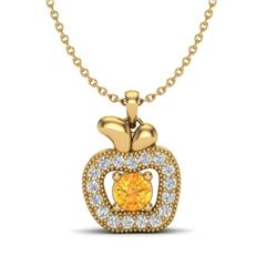 0.30 CTW Citrine & VS/SI Diamond Micro Pave Halo Necklace 18K Yellow Gold - REF-30T4M - 20378
