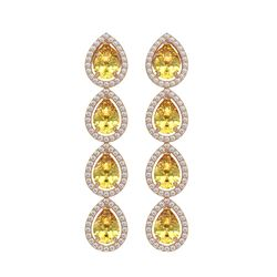 7.48 CTW Fancy Citrine & Diamond Halo Earrings 10K Rose Gold - REF-136H9A - 41181