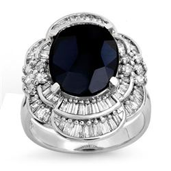 7.85 CTW Blue Sapphire & Diamond Ring 18K White Gold - REF-166H4A - 13077