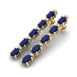 17.97 CTW Sapphire & VS/SI Certified Diamond Tennis Earrings 10K Yellow Gold - REF-145A5X - 29490
