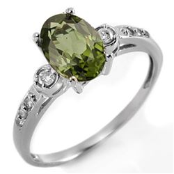 1.45 CTW Green Tourmaline & Diamond Ring 10K White Gold - REF-30K4W - 11428