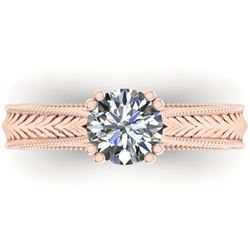 1.06 CTW Solitaire Certified VS/SI Diamond Ring 14K Rose Gold - REF-286K6W - 38536