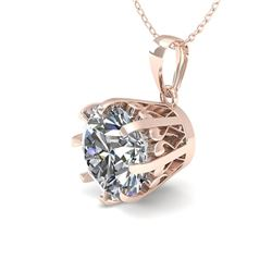 1 CTW VS/SI Diamond Solitaire Necklace 18K Rose Gold - REF-280N2Y - 35711