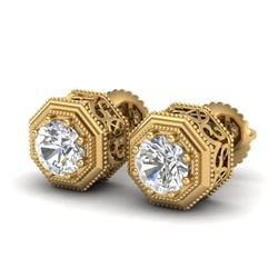 1.07 CTW VS/SI Diamond Solitaire Art Deco Stud Earrings 18K Yellow Gold - REF-190F9N - 37096