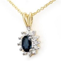 0.51 CTW Blue Sapphire & Diamond Pendant 10K Yellow Gold - REF-13X8T - 12628