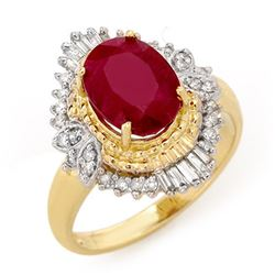 3.24 CTW Ruby & Diamond Ring 14K Yellow Gold - REF-58T4M - 13065