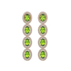 5.88 CTW Peridot & Diamond Halo Earrings 10K Rose Gold - REF-112N5Y - 40530