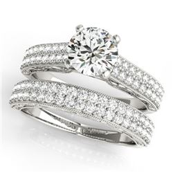 2.01 CTW Certified VS/SI Diamond Pave 2Pc Set Solitaire Wedding 14K White Gold - REF-424M2H - 32135