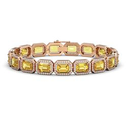 23.74 CTW Fancy Citrine & Diamond Halo Bracelet 10K Rose Gold - REF-303T8M - 41421