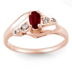 0.49 CTW Ruby & Diamond Ring Solid 18K Rose Gold - REF-31W8F - 10317