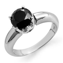 1.75 CTW VS Certified Black Diamond Solitaire Ring 14K White Gold - REF-64A2X - 11815