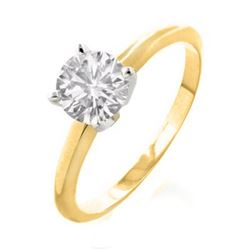 1.0 CTW Certified VS/SI Diamond Solitaire Ring 18K 2-Tone Gold - REF-443T8M - 12123