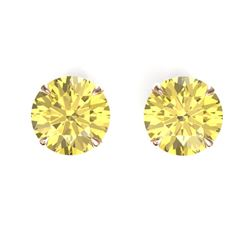 4 CTW Citrine Designer Inspired Solitaire Stud Earrings 14K Rose Gold - REF-23A3X - 21817