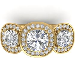 2.7 CTW Cushion Cut Certified VS/SI Diamond Art Deco 3 Stone Ring 14K Yellow Gold - REF-592K8W - 303