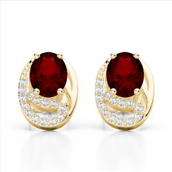 2.50 Garnet & Micro Pave VS/SI Diamond Stud Earrings 10K Yellow Gold - REF-25Y6K - 22335