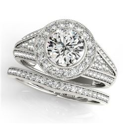 1.85 CTW Certified VS/SI Diamond 2Pc Wedding Set Solitaire Halo 14K White Gold - REF-420K2W - 31115