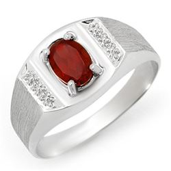 2.0 CTW Garnet Men's Ring 10K White Gold - REF-19Y8K - 12413