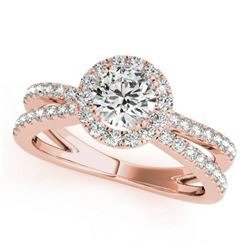 1.55 CTW Certified VS/SI Diamond Solitaire Halo Ring 18K Rose Gold - REF-402T9M - 26624
