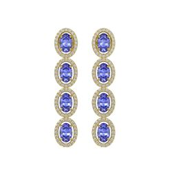 6.09 CTW Tanzanite & Diamond Halo Earrings 10K Yellow Gold - REF-122Y2K - 40513