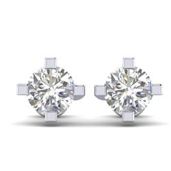 1 CTW Certified VS/SI Diamond Solitaire Stud Earrings 14K White Gold - REF-145X3T - 30399
